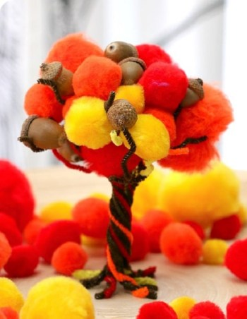 Diy fall pom-pom tree