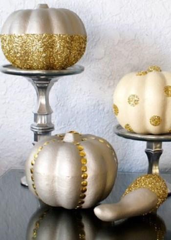 Diy glam gold and silver glitter pumpkins