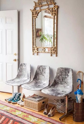 Decoupage marble fabric chairs