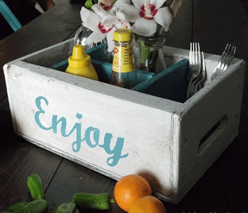 Diner's delight painted vintage crate organizer One Day Repurposing Wood Crate Project With Function And Flare