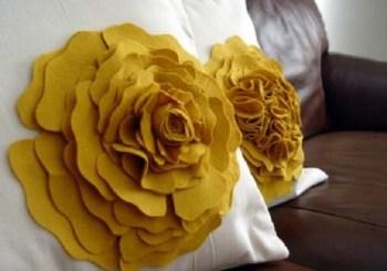 Fabric flower accent pillow