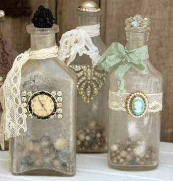 Jewelry bottle décor Shattering Creative Ideas To Repurpose Vintage Jewelry