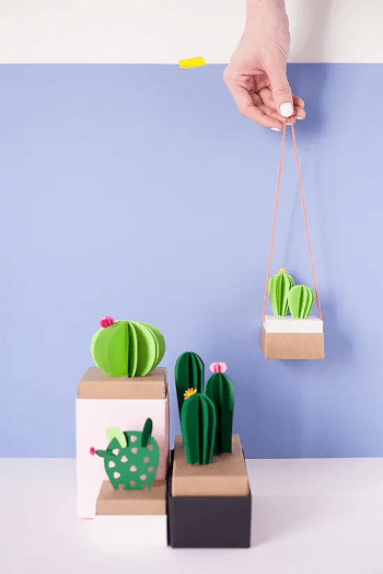 Paper cactus in box DIY Fake Plants That Easy To Follow For Home Decoration