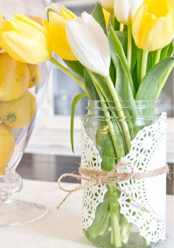 Spring decor with doilies
