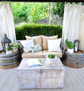 Two side table or nightstands DIY Compelling Ways To Use Wine Barrels For Decoration