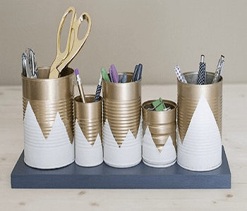 Upcycled tin can organizers Turn Trash To Treasure Projects From Tin Can That Also Appealing