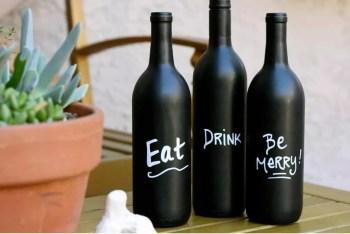 Wine bottles with chalkboard paint