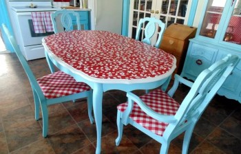 With red vinyl tablecloth decoupaged
