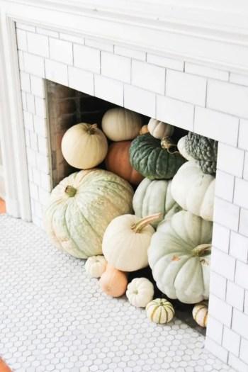 Make a pumpkin fireplace