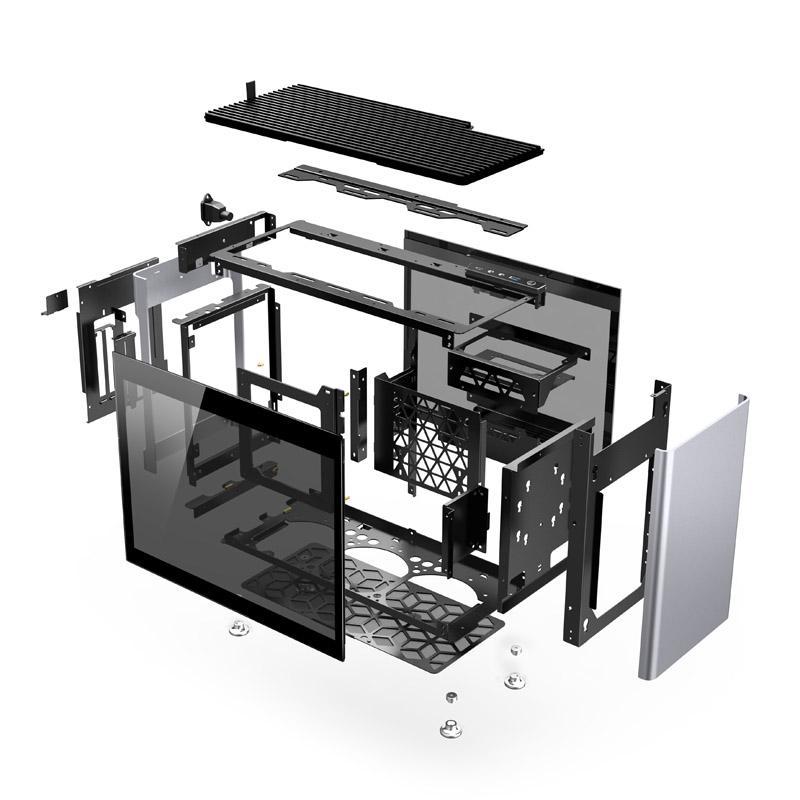 jonsplus i100 pro mini itx case vetro temperato argento