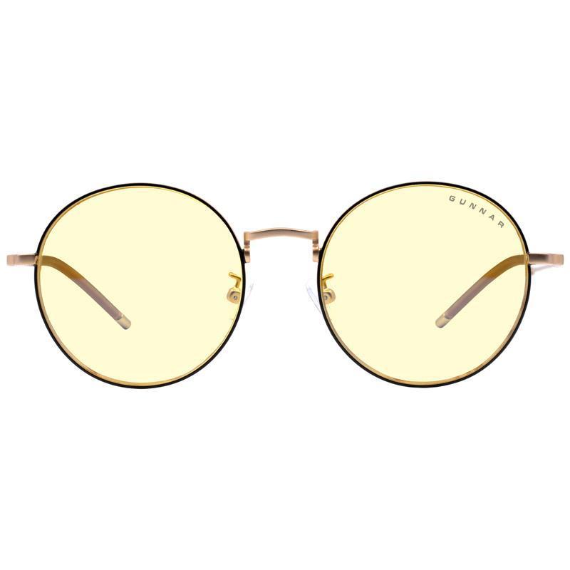 gunnar optiks ellipse occhiali per computer lente ambrata nero oro
