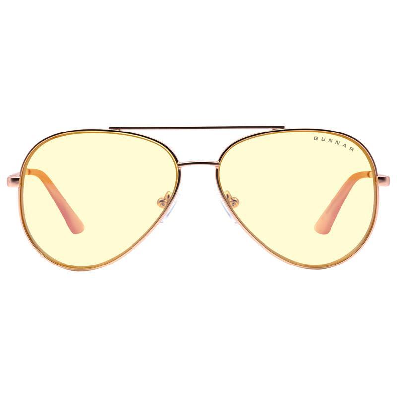 gunnar optiks maverick occhiali per computer lente ambrata oro rosa