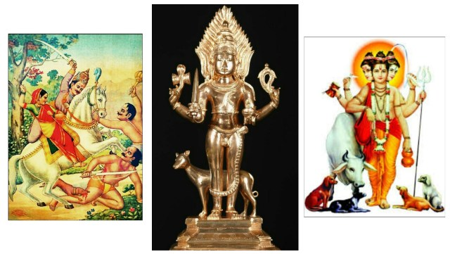 The significance of dogs in Hinduism, portraying Hindu Gods with Dogs as mounts or companions.