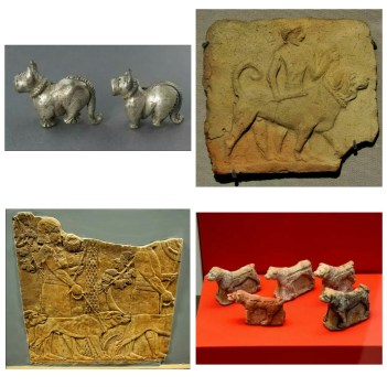a few of the excavated dog sculptures in Mesopotamia