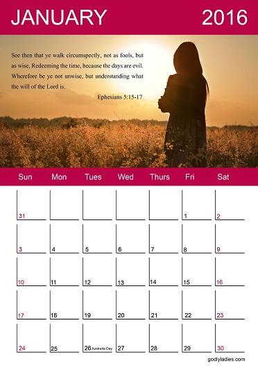 Godly Ladies January 2016 Calendar