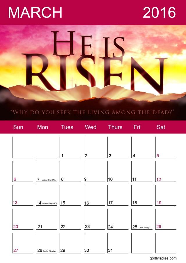 Free Calendar March Godly Ladies 2016