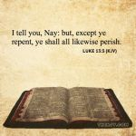 Luke 13:3 I tell you, Nay: but, except ye repent, ye shall all likewise perish.
