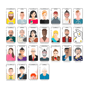 Team Unser, godnews, Teamentwicklung, Kartenset, Vorderseiten, Teaminspiration, biblische Charakterköpfe, Toolbox, Vertiefung