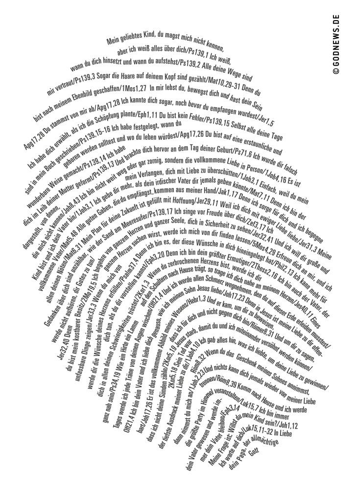 Fingerabdruck, Zusagen Gottes, godnews, einzigartig, Liebesbrief des Vaters, Typografie, Bibelstellen, Bibel, Gott, Jesus