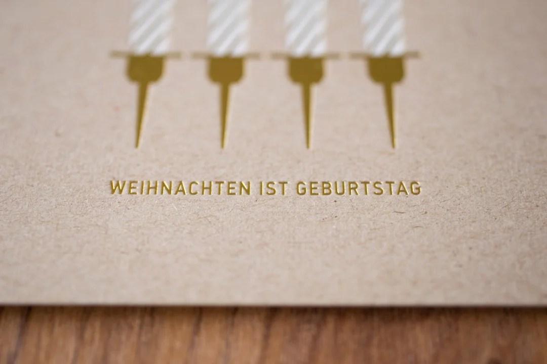 Tiefsinnkarten, godnews, Merry Birthday, Weihnachtskarten. Weihnachten ist Geburtstag