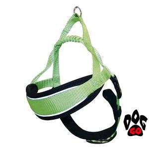 Шлея для собак светоотражающая CROCI HIKING ENDURANCE из нейлона, с мягкой подкладкой 58-80cm салатовый