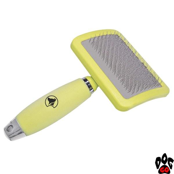 """Пуходерка для собак CROCI """"Glam Gel"""" средняя, с силиконовой ручкой, 10.5х17.8 см"""