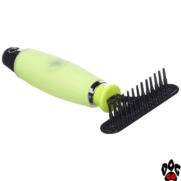 """Расчёска-грабли для собак CROCI """"Glam Gel"""" с силиконовой ручкой и пластиковыми зубцами (средняя) 8х17 см"""