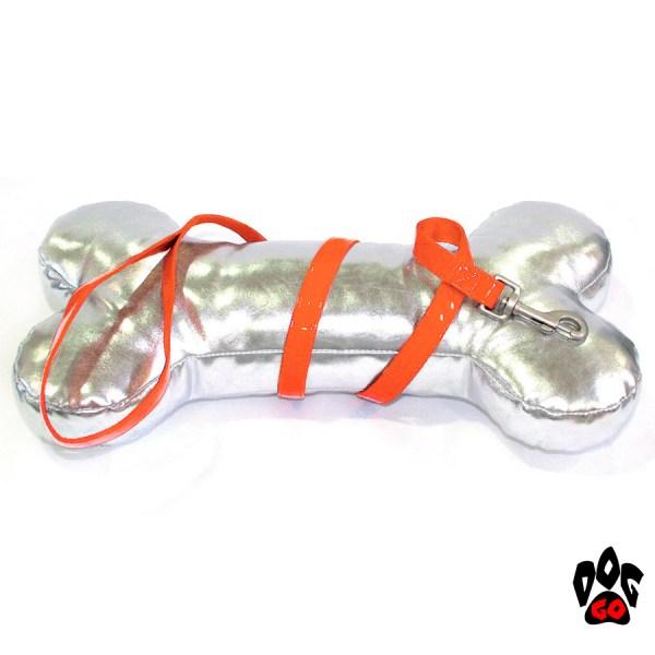 Лакированный поводок для собак CROCI MYLORD из искусственной кожи с нейлоном (оранжевый)