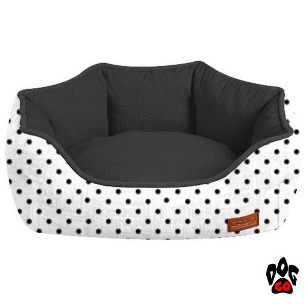 Диван для собаки CROCI Cozy Impact, овальный, черно-белый в горох-1