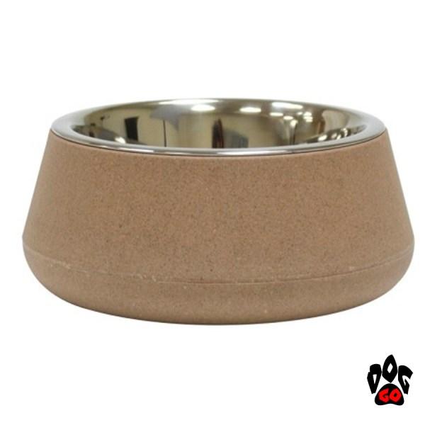 Бамбуковая миска для собак, нержавейка CROCI Bamboo-1