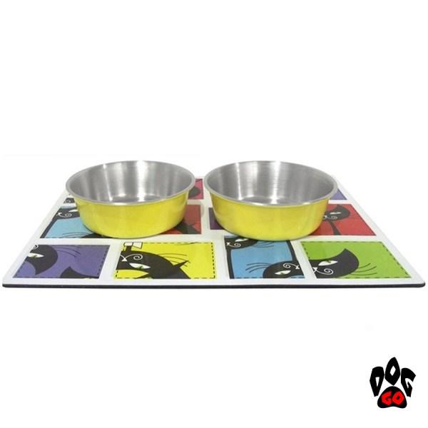 Коврик под миски для кошек магнитный+2 миски металические с глазурью CROCI Magnetic, 0.24л, 11см-1