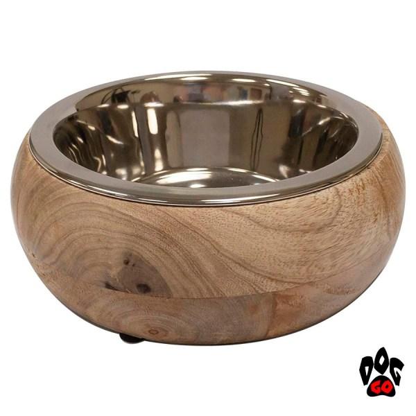 Миска для собак CROCI Gryfino, нержавейка+дерево, 0.80л, 20см-1