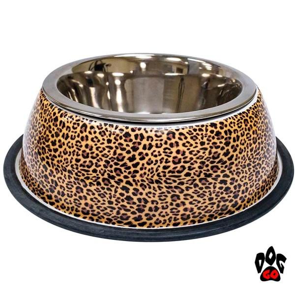 Миска для собак, нержавейка CROCI Animalier Leopard, Zebra с резиновым основанием, принт-