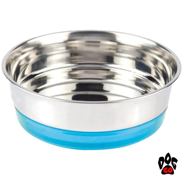 Миска для собак, нержавейка CROCI Neon, непроливайка на резинке-1