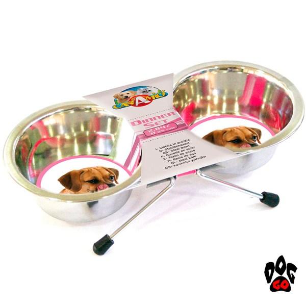 Миски для собак с подставкой CROCI, нержавейка, 2шт-1