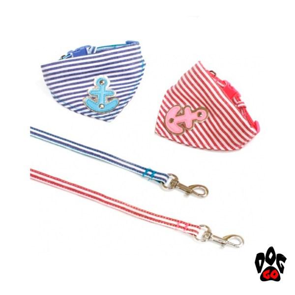 Поводок+ошейник для собаки CROCI BANDANA SAILOR, с банданой, голубой, нейлон, 20-30х0,8см / 0,8х120см-1