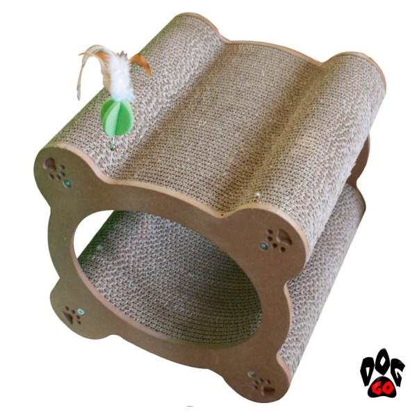 Когтеточка картонная CROCI Papercat Decor, тоннель с игрушкой, гофракартон, 36х35х31см-1