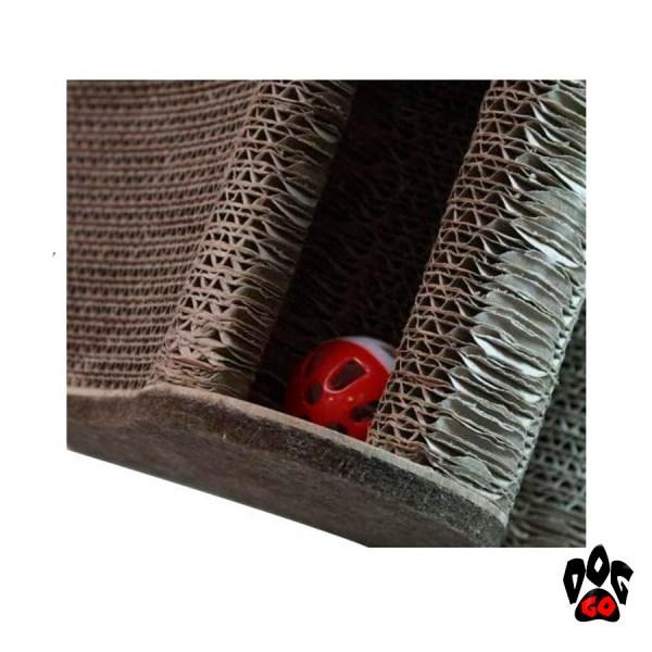 Когтеточка картонная CROCI Papercat Decor, тоннель с игрушкой, гофракартон, 36х35х31см-4