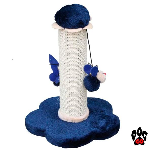 Когтеточка на подставке CROCI Mini Flowers, столбик с игрушкой, 25х25х30 см, плюш+сезаль-1