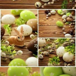 Easter bunnies and vine branches on wood background stock photo Free Download