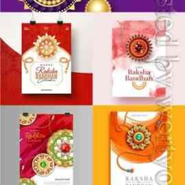 Flat raksha bandhan greeting vector card Free Download