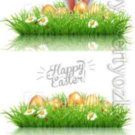 Happy Easter greeting card, rabbit ears peeping out of grass with daisies Font Free Download