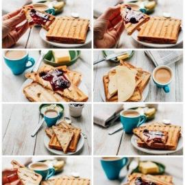 Breakfast with coffee toasts butter and jam 20xUHQ JPEG Free Download
