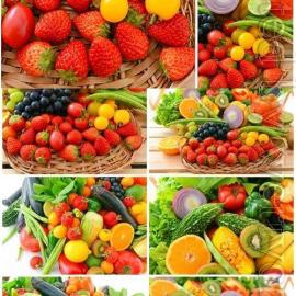 Set of fresh tropical fruits and various berries stock photo Free Download