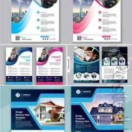 Flyer template vector design for cover layout annual report Free Download