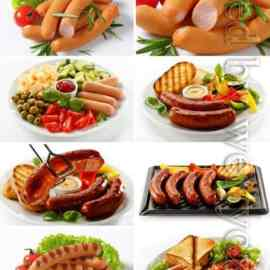 Sausages with garnish stock photo Free Download