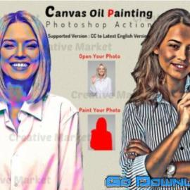 CreativeMarket Canvas Oil Painting Photoshop Action 64814 Free Download
