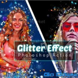 CreativeMarket Glitter Effect Photoshop Action 6493383 Free Download