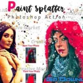 CreativeMarket Paint Splatter Photoshop Action 6475081 Free Download