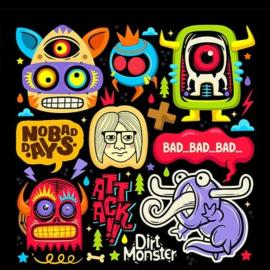 Doodle cute monster sticker coloring vector Free Download